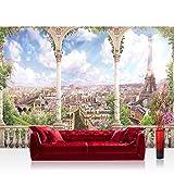 Fototapete 368x254 cm PREMIUM Wand Foto Tapete Wand Bild Papiertapete - Städte Länder Tapete Paris Eiffelturm Bogen Aussicht Häuser Gebäude natural - no. 4533