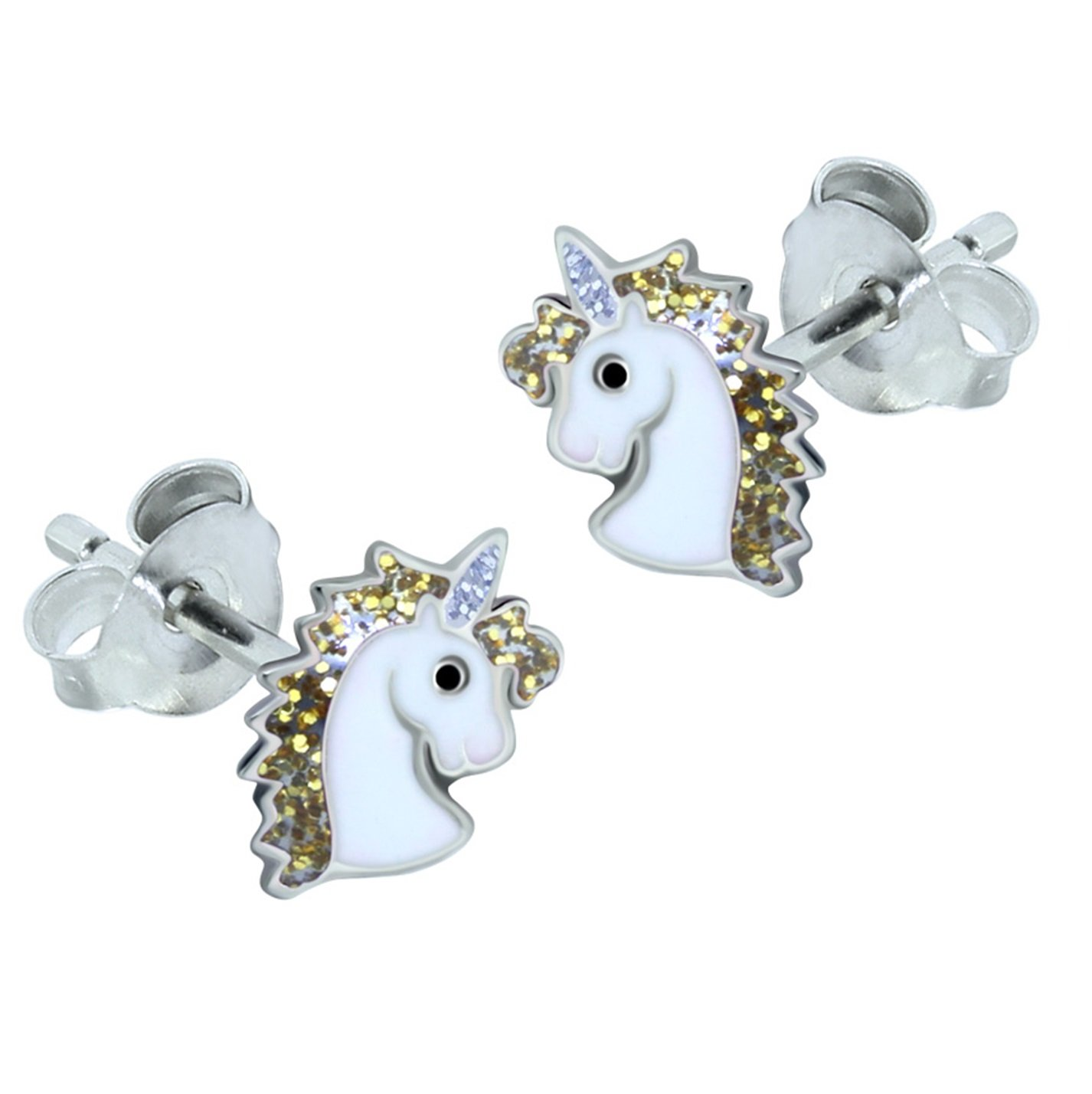 Sterling Silver Unicorn Earrings – Gold Glitter Gift