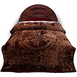 Little India Luxurious Embossed Korean Mink Double Blanket - Coffee Brown (DLI4SBK212)