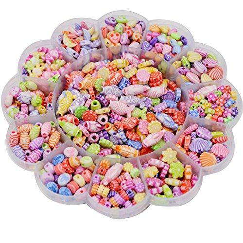 Jeune Lueur Perlenbox für Mädchen, Bunte Acryl-Perlen in Einer Blumen-Form Box für Kinderschmuck, Perlen-Set, Halskette und Armband, Kunststoff, Flower 1, Einheitsgröße