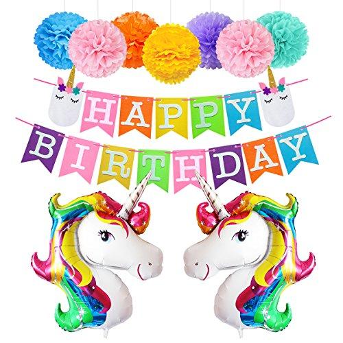 Happy Birthday Girlande Einhorn Luftballon Deko Party Zubehör Kinder Geburtstag Set Stoff Banner Ballons Dekoration (bunt)