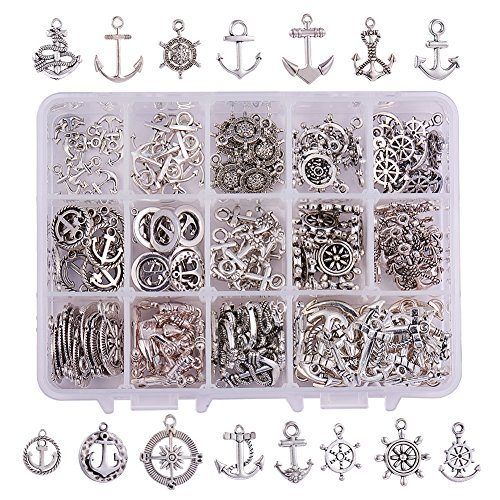 PandaHall Elite & reg Tibetischen Silber Anker & Helm Anhänger, Antik Silber, 20x17.5x2mm, Loch: 2mm
