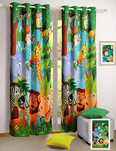 Shalinindia - tenda per finestra con stampa digitale di animali della giungla, 2 pannelli
