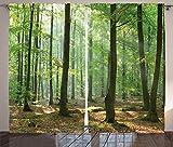 ABAKUHAUS Natura Tenda, Mattina Forest Farmhouse, Salotto Camera da Letto Tende per Finestra Due Pannelli Set, 280 x 225 cm, Marrone Verde