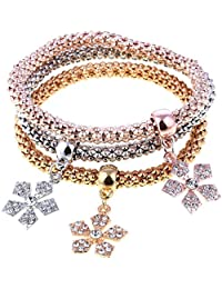 Shining Diva Fashion Gold And Silver Plated Crystal Bracelets For Girls And Women - Set Of 3