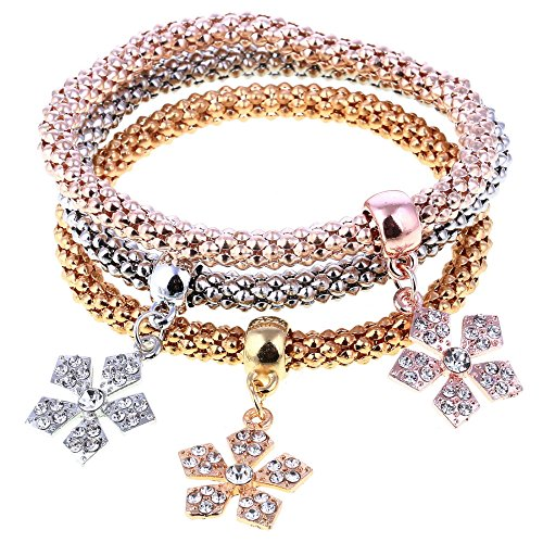 Shining Diva Fashion Jewellery Set of 3 Crystal Charm Bracelets For Girls