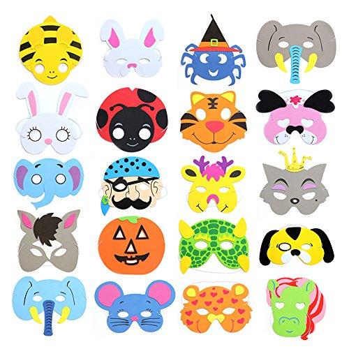 RETON Kinder Schaum Tier Masken für Party, Packung mit 40
