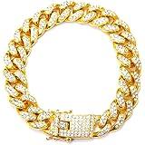 Macabolo Collana placcata Oro Hip Hop Iced out Cluster Simulazione Bling Diamante Cubano Miami Link Collare Bracciale per Uom