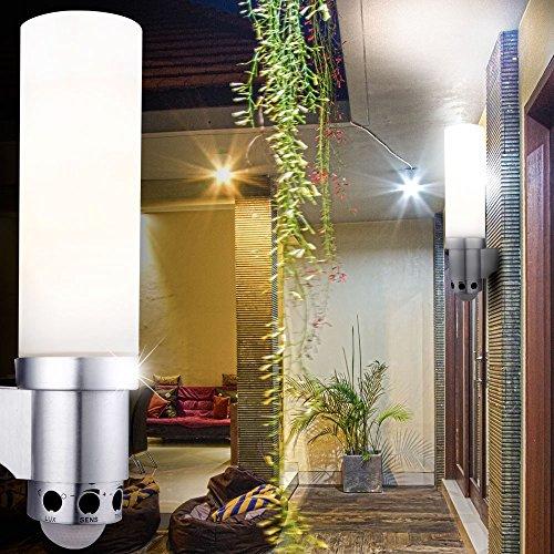 Lampe extérieure aluminium argent, opale, IP44, capteur:270?,allonge: 8m, LxH:100x335, excl. 1xE27 60W 230V