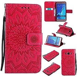 BoxTii Coque Galaxy J5 2016, Etui en Cuir de Première Qualité [avec Gratuit Protection D'écran en Verre Trempé], Housse Coque pour Samsung Galaxy J5 2016 (#5 Rouge)