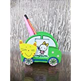 Kieana Colorful Wooden Car With Cat Design Pen Stand With Photo Frame And Clip Return Gift Set (Pack Of 12)