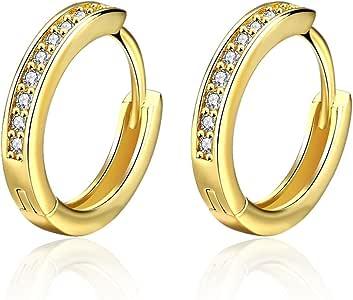 Hanie Damen Creolen Ohrringe RosegoldGold Ton Sleeper Kreole Durchmesser 17mm 19mm Klappcreole Ring mit Weiß Rund Zirkonia CZ Damen Ohrschmuck
