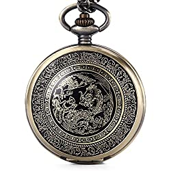 GORBEN Retro Bronze Mens Dragon & Phoenix Dangle Quartz Pocket Fob Watch Pendant with Box