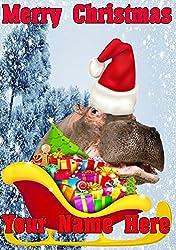 Hippo Santa Schlitten nnc228Humorvolle Weihnachten Karte A5personalisierbar Karten geschrieben von uns Geschenke für alle 2016von Derbyshire UK