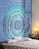 RAJRANG Wandteppich Orientalisch Ombre Blau Wandbehang Indisch Mandala Hippie Wall Tapestry Boho Wandtuch