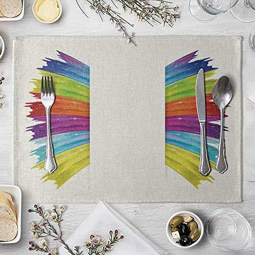 ZCHPDD Painted Spray Ins Wind Isolation Tischset Western Food Tisch Kaffeetisch Matte Tischdecke Tischdecke Wasserdicht P 40 * 30Cm * 4St