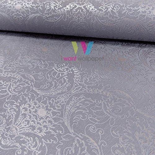 Marburg Empire Prag Damask Muster Tapete Metallisch Silber Motiv Texturiert - Nerz 57484