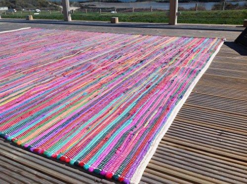 Alfombra Chindi magnífica de segunda, multicolor y ecológica, algodón, Multi Colours, 100 x 100 cm