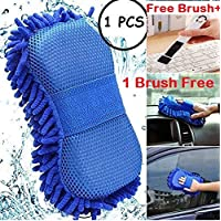 ORPIO (LABEL) 2 in 1 Microfiber Car Washing Gloves Car Cleaning Sponge Car Window Cleaning Brush (1PCS)