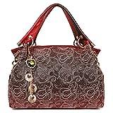 EGOGO Damen Handtasche Leder Henkeltasche Hollow Tote Tasche Für Fraun Schultertasche E522-1 (Rot)
