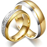 HIJONES Uomo Donne Forever Love Serie Acciaio Inossidabile 18K Oro Placcato FEDI Nuziali per Coppie
