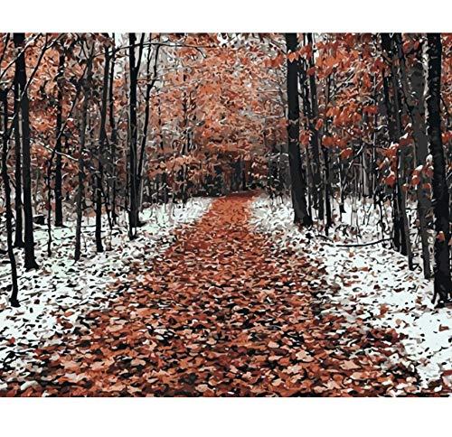 Winter Frosty Bäume Malen nach Zahlen Landschaft Kunst Leinwand Malerei für Wohnkultur handgemalt 16 x 20 Zoll mit Rahmen (Tiger Frosty Der)