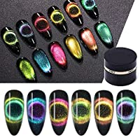 9D Chameleon Cat Eye Nail Gel Magnetic Soak Off UV Gel Nail Polish Romantic Shining Gel Lacquers 5ml Black Base Need 6 Color Kit Nail Decoration