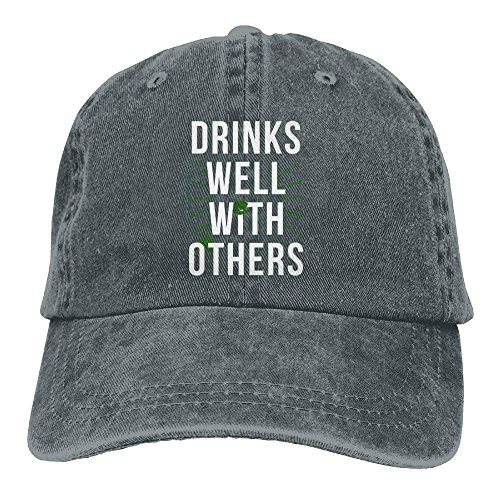 Aoliaoyudonggha Drinks Well with Others Hat Denim Hat Adjustable Female Funny Baseball Hats