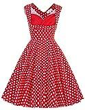 Yafex Hausfrau Klassisch Festliche Kleid Rockabilly Kleid 50s L CL008901-13