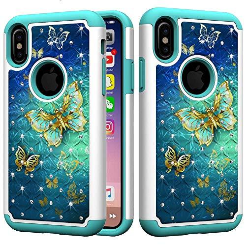 ACBIC Blumen Schmetterling Eule Muster Bling Glitter Diamant 2 In 1 Dreifache Schicht Rüstung Defender Hybrid Heavy Duty Stoßfest Schutzhülle Für iPhone X/Xs 2 -