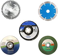 DeoDap Professional Cutting Tool Combo 4 inches or 110 mm Wheel-Grinding Angle Grinder (CM_cut_wheel_5combo) - Set of 5