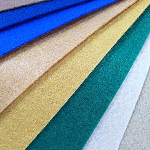 48Pcs Filzstoff Farbig Bastelfilz Steif Vliesstoff DIY Handwerk Projekte Patchwork Stoffe Filz Paketzum Nähen 30cm X 30cm X 1mm mit freier Fadentasche