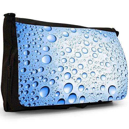 Multicolore a gocce d'acqua, colore: nero, Borsa Messenger-Borsa a tracolla in tela, borsa per Laptop, scuola Nero (Blue Water Droplets)