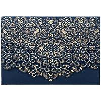 Hosmsua 20pcs Azul invitaciones de bodas corte láser con 20 piezas Floral Hollow Fiesta Tarjetas De Invitación para Sobre y mar Baby Shower de ducha de novia matrimonio