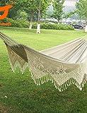 ZQ SWIFT Outdoor? New Cotton Thickening Canvas outdoor Luxury Double Person Portable Tassel Hammock White Fringe Hammock