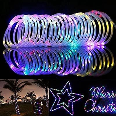 33ft/10m 100LED Solar Rope Lights, STARS100 Outdoor Waterproof Rope Lights,3000K LED String Light with Light Sensor, Ideal for Wedding, Party, Decorations, Gardens, Lawn, Patio (Multi)