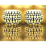 Mosaic Glass Candle Holder / Tealight Candle Holder / Votive Candle Holders For Party Decorations Table Top Set Of 2 Pcs 3 Inch