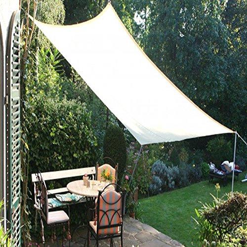 PEGANE Voile d'ombrage rectangulaire Gris Clair en Polyester 200g/m² Anti-UV, 300 x 250 cm avec kit de Fixation