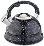 Klausberg Stovetop Induction Stainless Steel Whistling Kettle 2.7 Litre KB - 7047 Marmour Effect (Black)