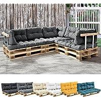 [en.casa] 1x cojín de asiento para sofá- palé / para europalé [gris claro] cojín In/Outdoor - cojín acolchado - válido para exteriores