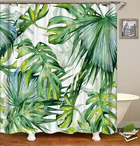 Duschvorhang Polyester, Wasserdicht, 180x200 cm, Anti-Bakteriell, Anti-Schimmel, Waschbar, Blatt Muster, mit 12 Ringe, Bad Vorhang Tropisch Wald Monstera für Badezimmer Badewanne - Grün -