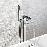 Chrom Moderne Wasserfall Freistehende Badewanne Dusche Einhebelmischer, quadratisch