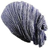 Outflower Copricapo moda autunno - inverno, cappello lavorato a maglia a due colori piegati Cappucci caldi Cappellino in lana hip hop, e, 42-65cm