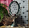 Blansdi barock antik Wandspiegel 35 x 20.5cm Landhaus Badspiegel Kosmetik bewegliche Spiegel oval Standspiegel Tischspiegel Desktop Mirror