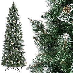 Idea Regalo - FairyTrees Albero di Natale Artificiale Slim, Pino innevato Bianco Naturale, Materiale PVC, Vere pigne, incl. Supporto in Metallo, 180cm