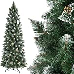 FairyTrees Artificiale Albero di Natale Slim, Pino innevato Bianco Naturale, Materiale PVC, Vere pigne, incl. Supporto in Metallo, FT09
