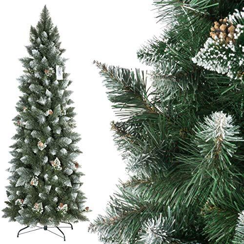 Fairytrees albero di natale artificiale slim, pino innevato bianco naturale, materiale pvc, vere pigne, incl. supporto in metallo, 180cm