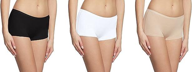 KavJay's Women's / Girl's Touch Feeling Boyshort BoyLeg Trousershort Brief Boxer Panty (Black White Beige, 32)