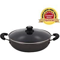 Lifelong Non-Stick 2 litre Kadhai with Glass Lid, 24 cm, Black/Grey (Induction and Gas Compatible)