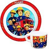 alles-meine GmbH 2 TLG. Set - Tasse + großer Teller - Kinderteller -  Feuerwehrmann Sam Jones  - inkl. Name - Ø 21,5 cm - aus Melamin / Kunststoff - BPA frei - tiefer Speise..